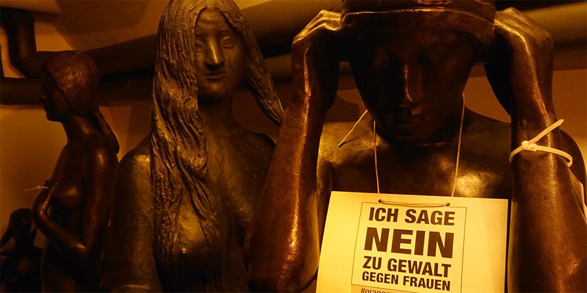 Im Skulpturenkeller des Gerhard-Marcks Hauses gilt NEIN zu Gewalt gegen Frauen